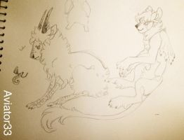 Lionbat doodle and Lulu creature by Hauket