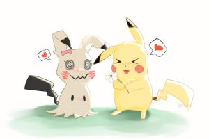 Mimikkyu and Picachu by Rick-Draws