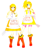 MMDxFNaF - Chica And Toy Chica +[Dl] by LuzhiiKawaiiWii12