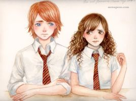 Ron and Hermione -accuareil- by keerakeera