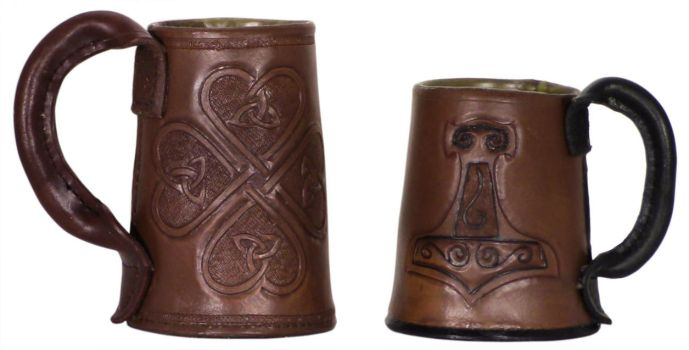 Tooled Leather Tankards by DanTheLefty