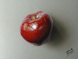 Apple Drawing - Hyperrealism by marcellobarenghi