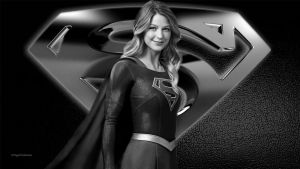 Supergirl Wallpaper - Black  White 1 by Curtdawg53