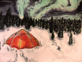 Aurora Borealis and Tent by KateHodges