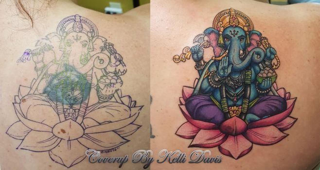ganesha coverup tattoo! by Pinkuh