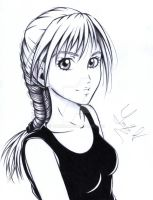 Drawing of a girl's profile picture by Yaaxian