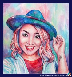 Portrait of a girl in a hat by lazy-brush
