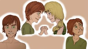 HTTYD: Hiccup-Astrid sketches by MidoriEyes