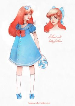 Ariel and lolita fashion by Moon-In-Milk