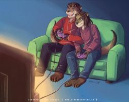 Commish - Otters and Games coloured by Meibatsu
