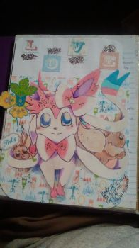 Sylveon and Eevees by XcariX21