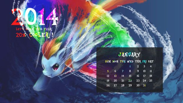 MLP Pony Year Calendar Wallpaper - 2014 JANUARY by FoxTailPegasus