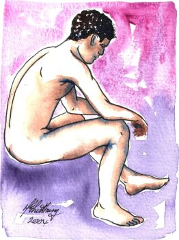 Male Nude. Purple + Blue. 4 by Pinkpasty