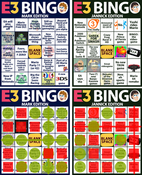 E3 2018 - Predictions Bingo Cards! by MarkProductions