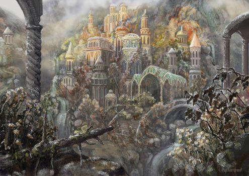 A cold morning of Rivendell by Mysilvergreen