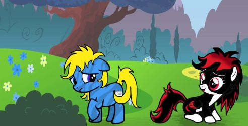 Mylittlepony Blue Monday and Red Moon by shastasnow