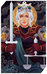 Commission: Apolonia tarot card by RedlyJester