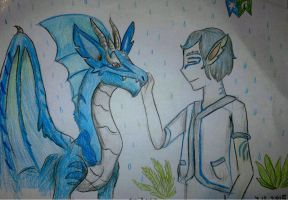 Aquamarine dragon and his friend. by Shantifiy