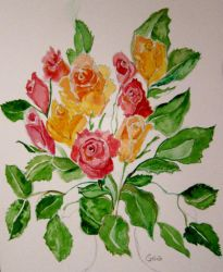 more leaves and roses 1 by GeaAusten