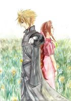Cloud and Aerith by meomeoow