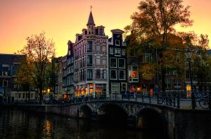 Sunset Bridge in Amsterdam by INVIV0