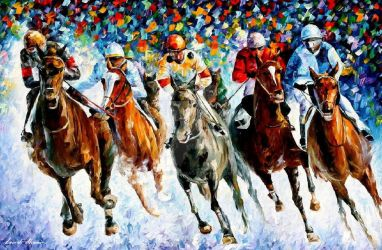 Race On The Snow 2 by Leonid Afremov by Leonidafremov