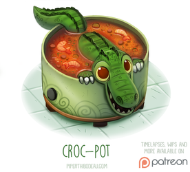 Daily Paint 1520. Croc-Pot by Cryptid-Creations