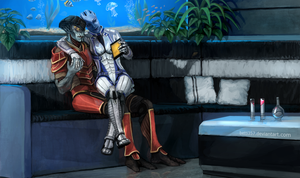Mass Effect -  Javik and Liara by betti357