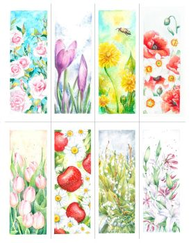 Spring bookmarks by qi-art