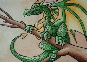 ACEO -- Green Dragon by Ayakitsune