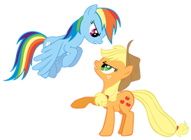 Applejack and Rainbow Dash by Are-you-jealous