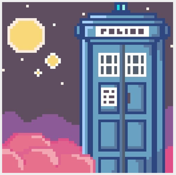Tardis Doctor who And Pink Clouds by guly09