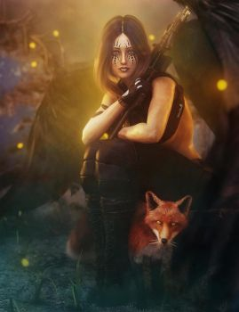 Dark Angel Woman and Red Fox Fantasy Art by shibashake