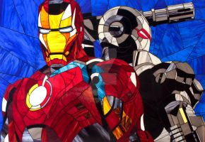 Iron man and War machine. Photos stained glass pic by Art-Brother