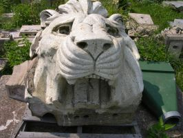 Lions Head Statue 1 by FairieGoodMother