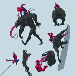 Venom And Spider Man Doodles by The-BlackEye