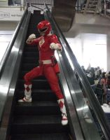 Movie red power ranger chilling at the mall by matt3335