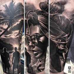 Realistic Surfinging Tattoo by Remistattoo