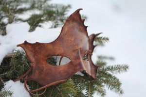 Brown Maple Leaf Handmade Mask by OsborneArts