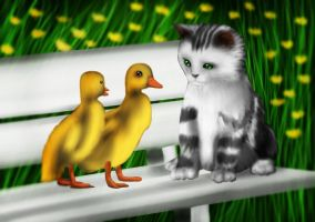 Ducks and Cat by cutecolorful