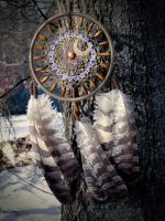 Wolf's Moon - Dream Catcher with Owl Feathers by DreamsDimension