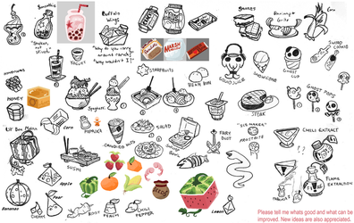 Food Concept Sketches by Scarlet-Ajani