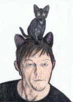 Norman Reedus as a cat by gagambo