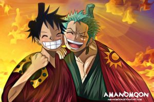 One Piece Chapter 912 Luffy Zoro Reunite Colors  by Amanomoon