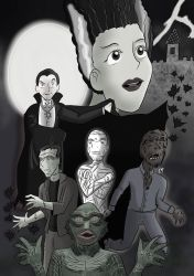 Universal Monsters Black and White by KarToon12