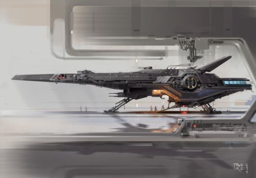 Attack BomberBR Star Wars-ish Ship further renderi by Bartoleum