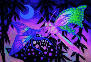 The Kiss by Space Baby under blacklight by Yeesa