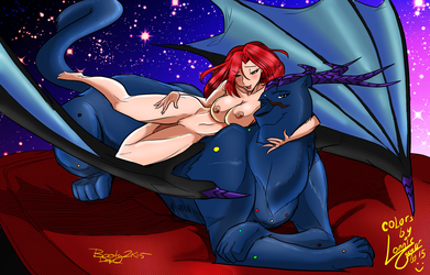 The Pard Queen and Her Kitty (Colored) by WyldefireFamily