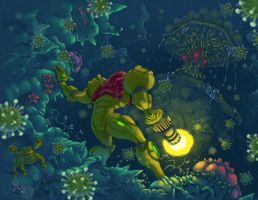 Samus Encounters Spore Spawn by ZEBES