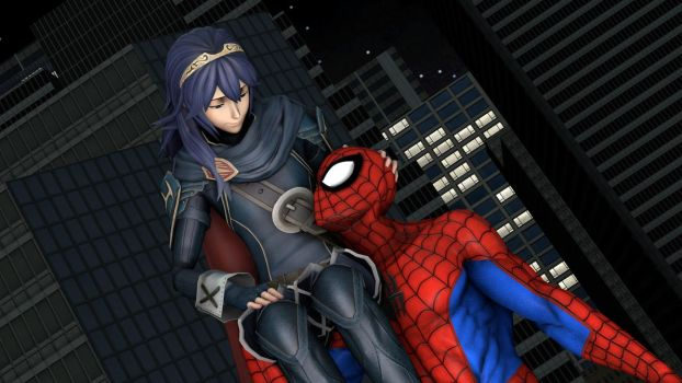 Lucina and Spider-Man : need a lift my princess by kongzillarex619